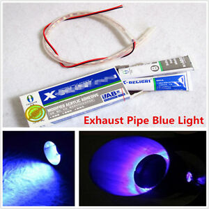 Dc 12v Motorcycle Exhaust Tail Pipe Blue Heated Led Light Lamp Strip W Ab Glue Ebay