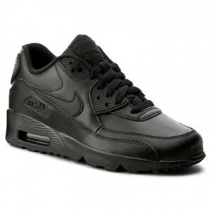 df5f0e41c1e1 Nike Air Max 90 LTR Leather Big Kids  Black Black 833412 001 Grade ...