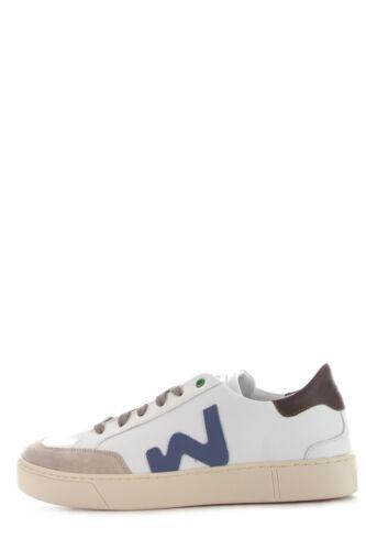 H290554 WOMSH HECTOR scarpa sneaker in pelle naturale bianco da uomo