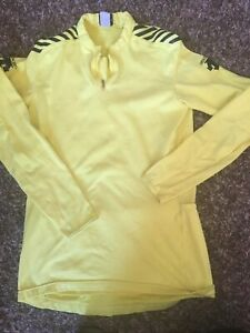 Descente Size XL Women's 1/4 Zip Long Sleeve Cycling Jersey. Yellow, EUC