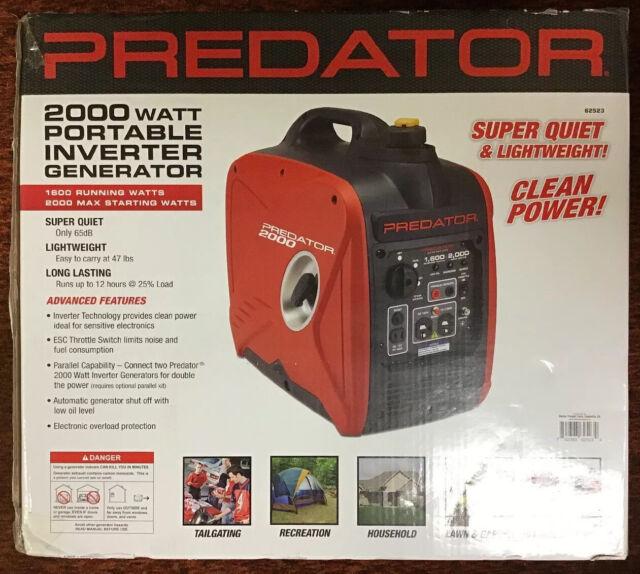 Predator Generators 62523 2,000W Super Quiet Portable Inverter Generator New