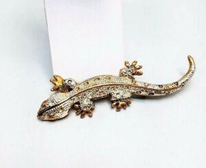 Salamander-Vintage-Pin-Gold-tone-Silver-tone-3-inch-brooch