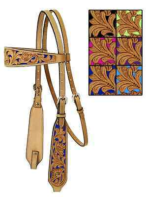 Mesquite Canyon Floral Tooled Headstall Natural/Blue, NEW!!!