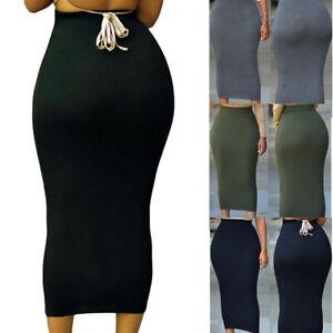 Muslim-Thick-Skirt-Bodycon-Slim-High-Waist-Stretch-Long-Maxi-Women-Pencil-Skirt