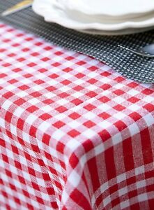 Image Is Loading Plaid Tablecloth Gingham Table Cover Checker Cotton Linen