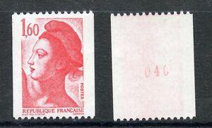 Stamp / Timbre France Neuf N° 2192a ** Type Liberte Roulette Numero Rouge Au Dos Ventes De L'Assurance Qualité