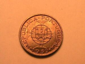1959-Portuguese-INDIA-60-Centavos-Choice-BU-Near-GEM-Light-Gold-Tone-Coin