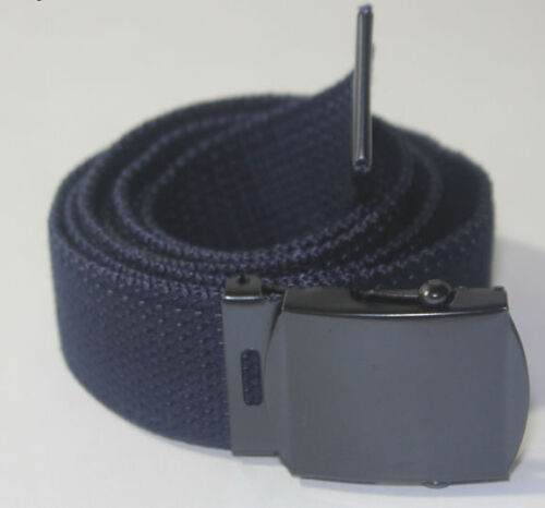 "NEW NAVY BLUE 26/"" 27/"" 28/"" 29/"" WAIST CANVAS MILITARY WEB BELT BLACK SLIDE BUCKLE"