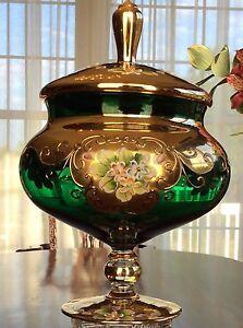 Bohemian Czech Venetian Art Glass Footed Candy Dish Enameled Gold & Green