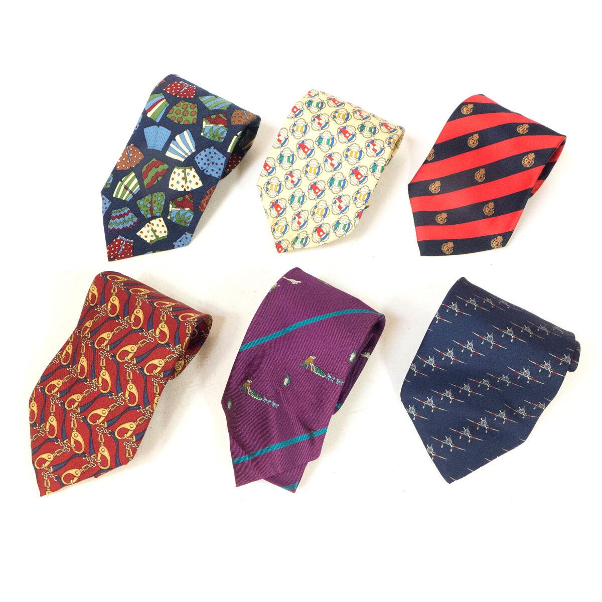 #01 Mixed Lot of 6 Vintage Men's Dresswear Red, Blue, Pale Patterned, etc Ties