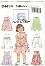 Butterick 4434 Toddler Girl Size 1 2 3 Pattern Sleeveless High Waist Dress Uncut