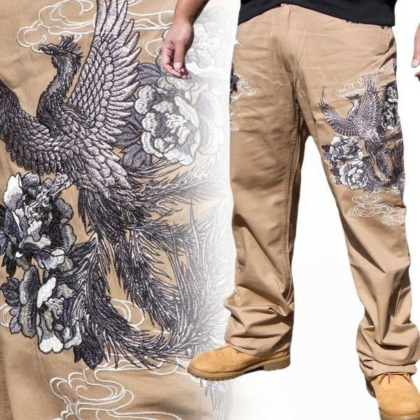 Mens Japanese Pattern Embroidered Casual Trousers Khaki Pants Straight Phoenix