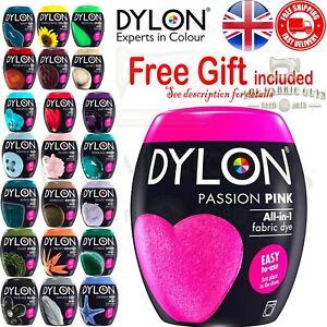 Dylon Lavatrice Tessuti Colorante e abiti Pod 350g in polvere 22 colori regalo gratuito
