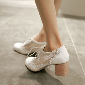 Hot-Fashion-womens-brogue-oxfords-block-heel-lace-up-Mesh-court-shoes-Plus-Size