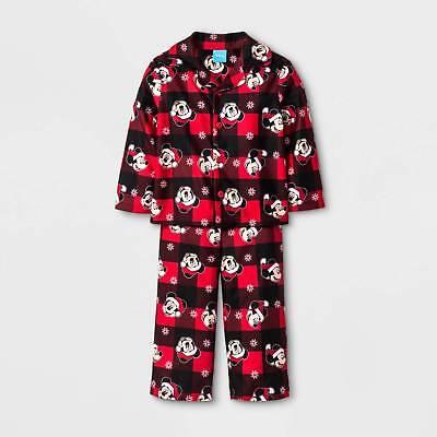 Toddler Christmas Pajamas.Boys Disney Mickey Mouse Toddler 4t Red Flannel Christmas Pajamas Set Ebay