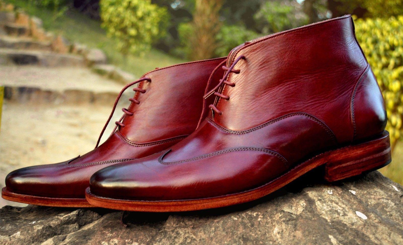 Handmade Maroon Ankle High Stivali Stivali Pelle Wing Tip Chukka Denim Casual Stivali Stivali Uomo dfa1fc