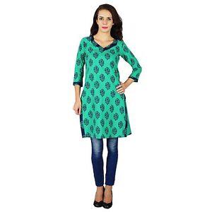 Indian-Gruen-Kurta-Frauen-Ethnischen-Kurti-Laessig-Gedruckt-Top-Tunika-Kleid-Bluse