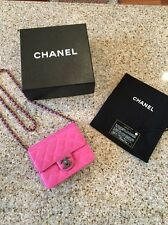 "Authentic CHANEL Square Mini Classic ""Crossing Times"" Lambskin Flap PINK Bag NEW"