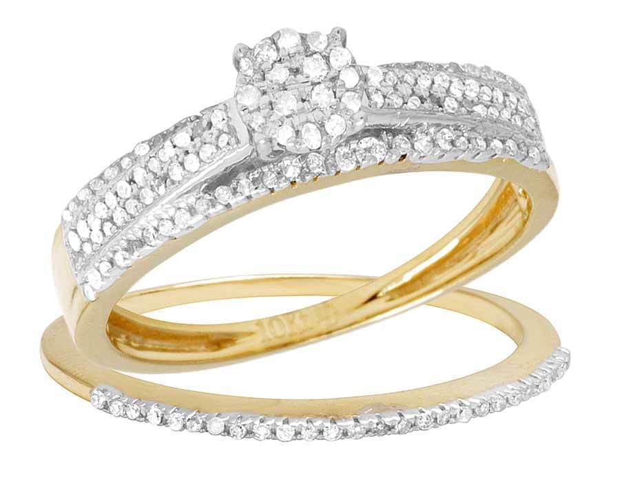 Ladies 2 Piece 10K Yellow gold Real Diamond Cluster Engagement Ring Set 0.45ct