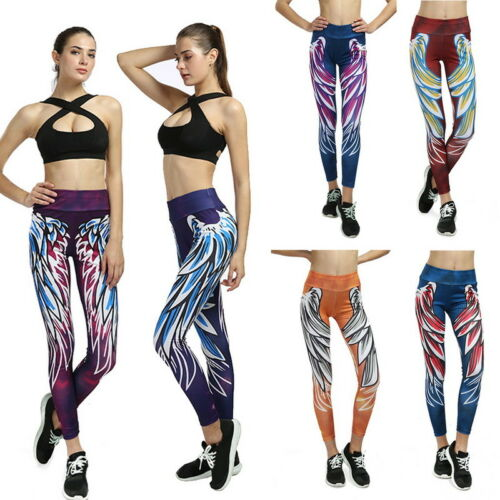 Damen Leggings Yoga Fitness Sportshose Joggen Jogginghose Skinny Leggins P//D