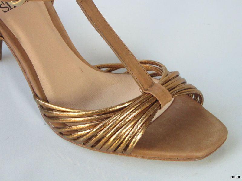new 275 SINELA bronze/nude Leder open-toe T-strap heels schuhe made in Spain