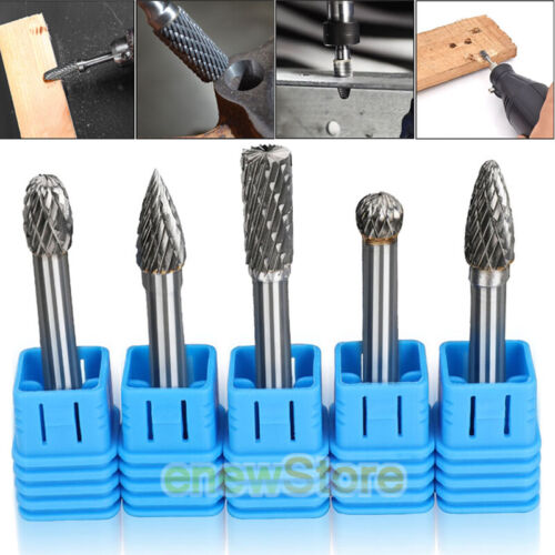 """5 PACK Tungsten Carbide Burr 1//4/"""" Shank Rotary Cutter Files Set CNC Engraving-US"""