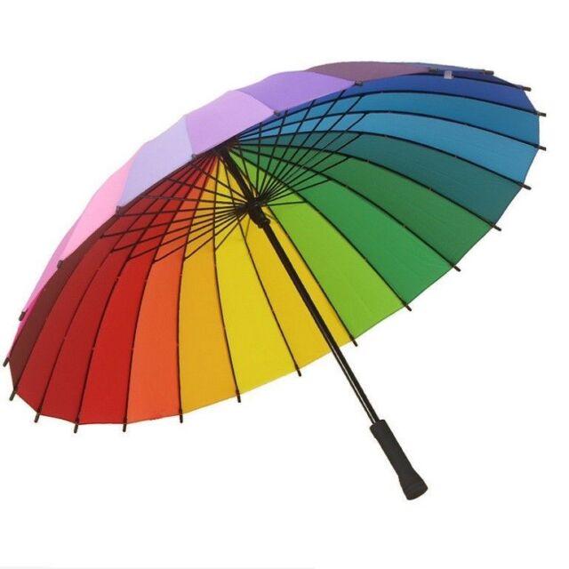 b689dca27c108 Colorful Rainbow Windproof Anti UV Sun Rain Umbrella 24K Long Handle Parasol