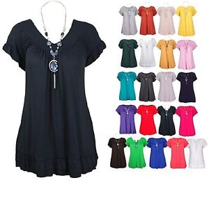 Ladies-Short-Sleeve-Frill-Necklace-Summer-Gypsy-Tunic-Womens-Top-Plus-Size-12-30