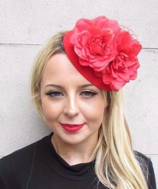 8a7ddd72 Red Net Flower Pillbox Hat Fascinator Races Wedding Hair Clip Rose 1950s  3435