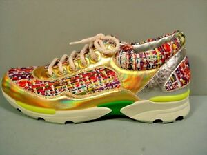2c036e9071058 CHANEL Silver Gold Multicolor Tweed Leather Lace Up Sneaker Tennis ...