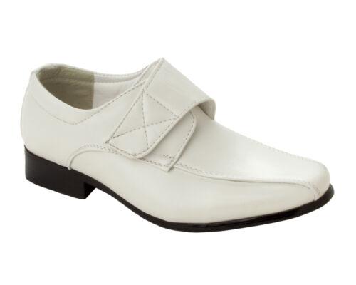 BOYS WHITE FORMAL WEDDING PAGE BOY PARTY SMART DRESS SHOES KIDS UK SIZE 7-11