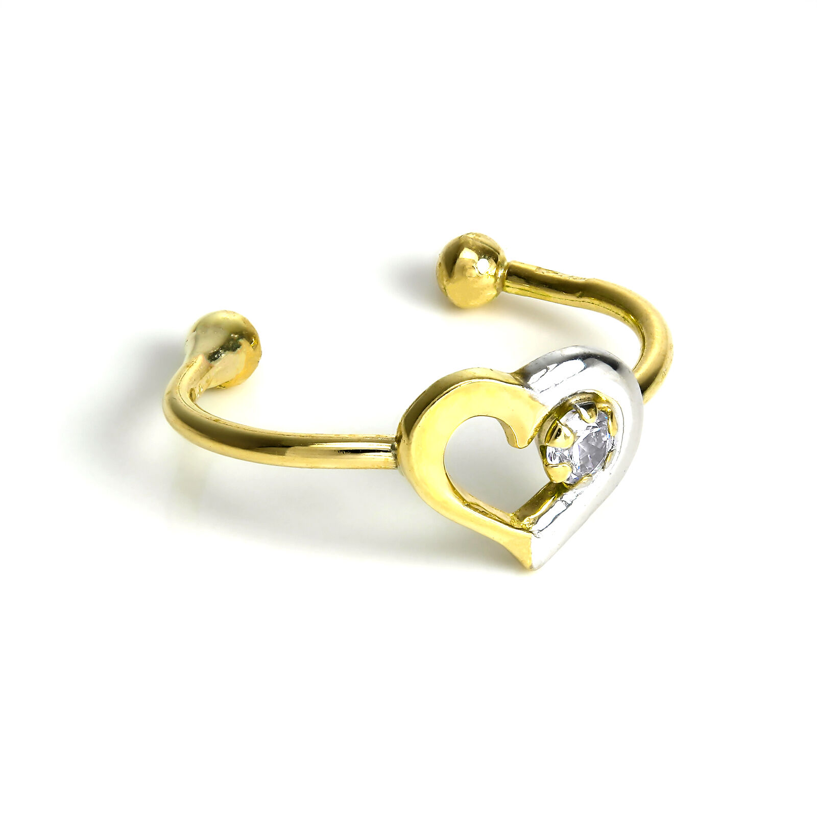 9ct Yellow & White gold Open Heart Ear Cuff with Small Clear CZ Crystal Single