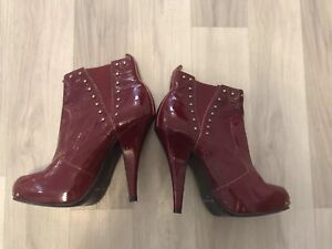 Red Leather 38 Boots Stud Gold Patent And Ankle Carvela TgwvqTr5