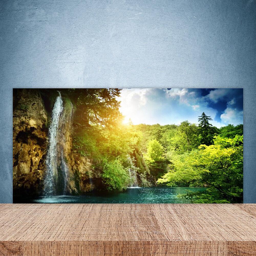 Cupboard kitchen glass wall panel 100x50 landscape waterfall trees