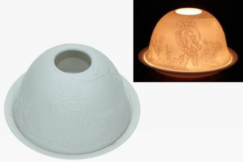 Neuware wunderschönes Porzellan Windlicht Teelicht Motiv EULE
