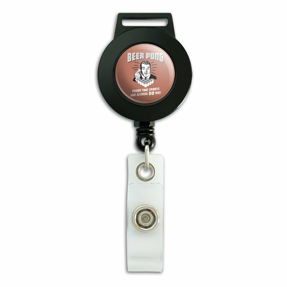 Beer Pong Proof That Sports Alcohol Mix Badge ID Card Holder