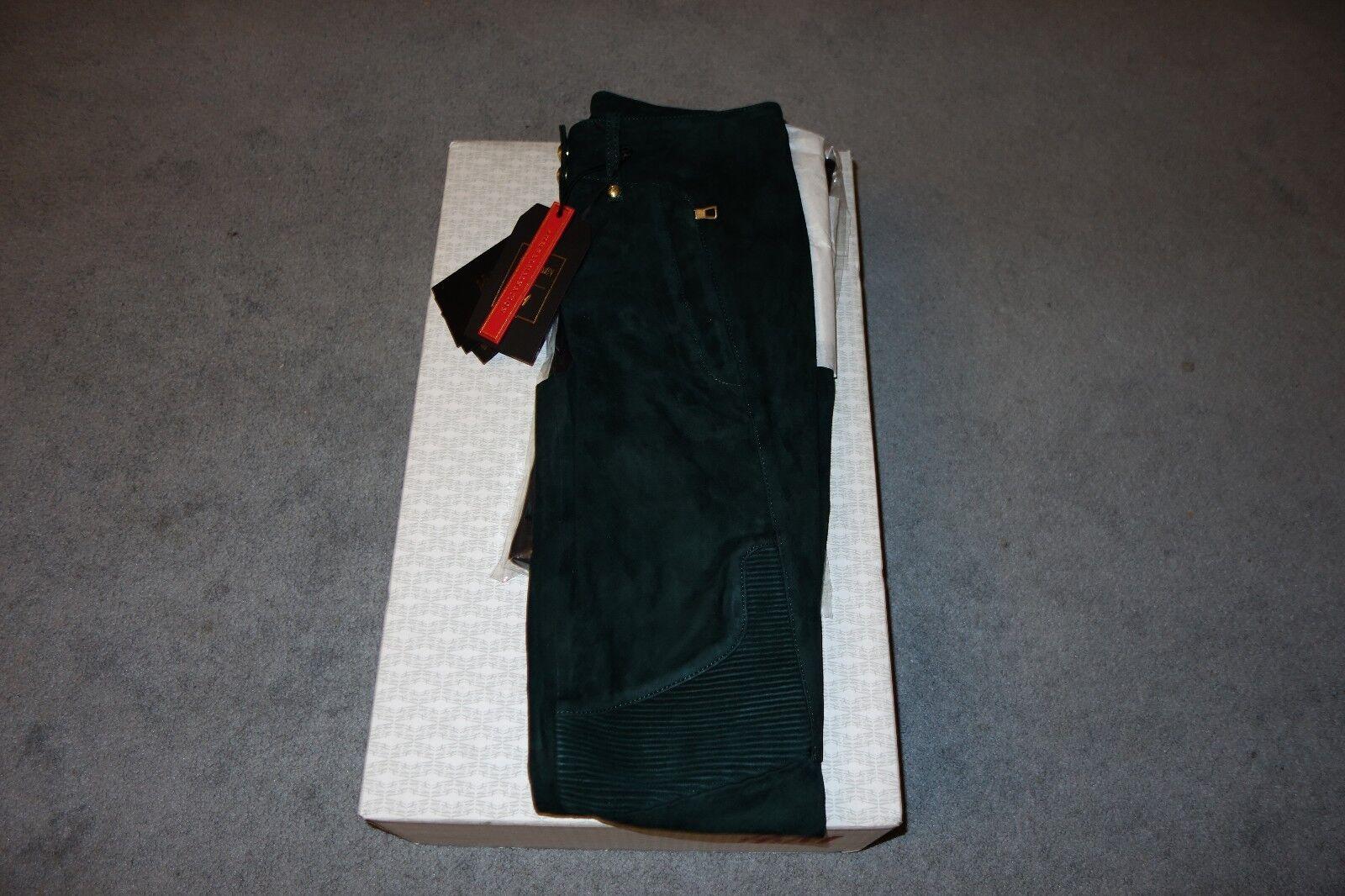 Balmain X H&M Dark Grün Suede Biker Pant Größe 6