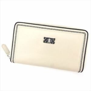 Chanel-Wallet-Purse-Long-Wallet-Beige-Black-Woman-unisex-Authentic-Used-T5291