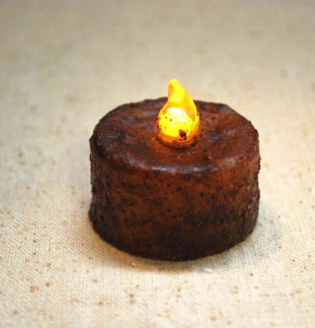 6 Primitive Grungy BURNT MUSTARD Wax Dipped Tea Lights - - Battery