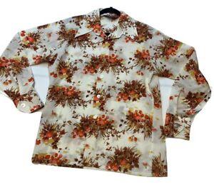 vintage 70s disco shirt 1970s autumn flower print button up shirt 1970s floral blouse medium m