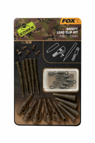 "Safety Lead Clip Kit Fox Carp Fishing /""The Edges Camo/"" Range"