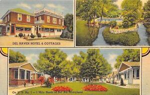 Bel-Air-Maryland-Del-Haven-Hotel-Motel-Cottages-Pool-Bridge-1940-Linen-Postcard