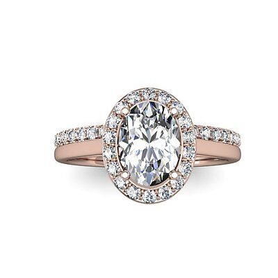 1.80 Ct. Oval Cut Halo Pave Natural Diamond Wedding Set - GIA Certified