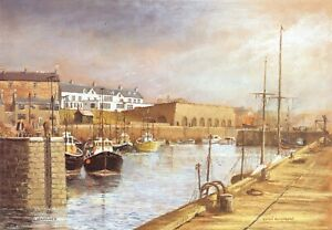 Art-Postcard-SEAHOUSES-Northumberland-by-Edwin-Blackburn-Harbour-Boats-67T