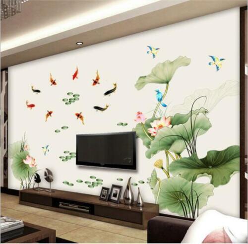 Wall Sticker Lotus Pond Fish Flower Living Room Lobby Home Decor Decal Bedroom