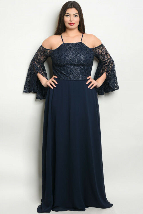 Womens Plus Size Navy bluee Cold Shoulder Lace Bell Sleeve Maxi Dress Gown 1XL