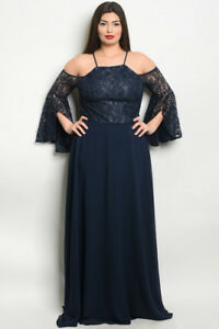 Details about Womens Plus Size Navy Blue Cold Shoulder Lace Bell Sleeve  Maxi Dress Gown 3XL