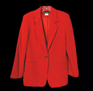 Harve-Benard-Blazer-Wool-Cashmere-Blend-Size-16-Red-One-Button-New-with-Tags