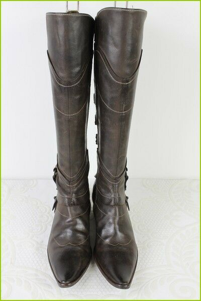 Boots REGARD All Brown Leather T 37 VERY GOOD CONDITION