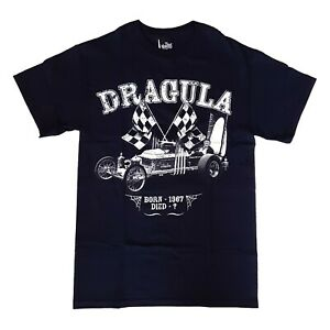 Gothic-Horror-The-Munsters-60s-Coffin-Hot-Rod-Dragula-Mens-Black-T-Shirt-Size-S